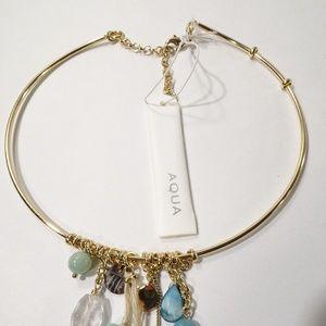 Bloomingdale's Aqua Turq Stone Choker Necklace NWT